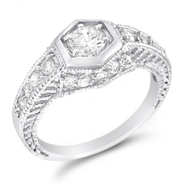 Engagement Ring Designer Bridal Band CZ Sterling Silver (1.50 Carat)