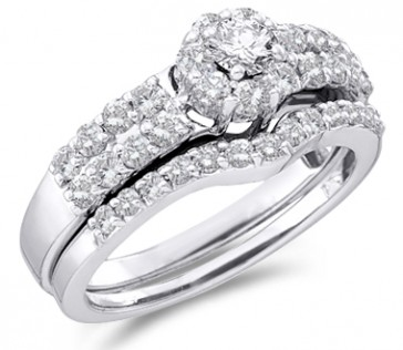Diamond Engagement Ring Set Wedding Band 14k White Gold Bridal 1.13 CT