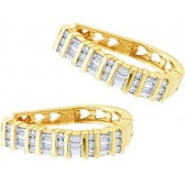 Hoop Diamond Earrings 10k Yellow Gold Bar Set (1/2 Carat)