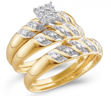 Diamond Engagement Ring & Wedding Bands Set 10k Yellow Gold (0.09 CT)
