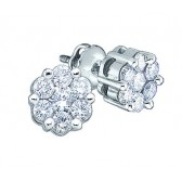 Diamond Stud Earrings 10k White Gold Round Channel Set (1/4 Carat)