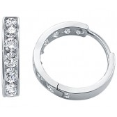 CZ Hoop Earrings 14k White Gold Huggies Round Cubic Zirconia 1/2 inch