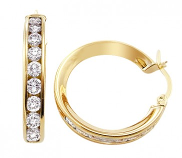 14k Yellow Gold Hoop Earrings Classic Huggie CZ Cubic Zirconia 1.25