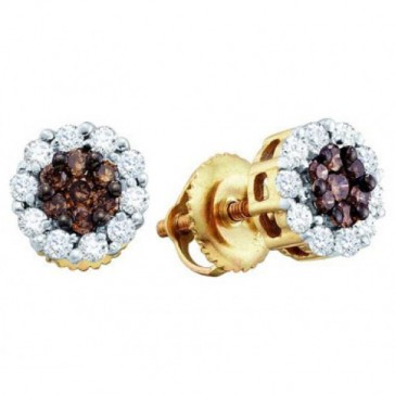 Brown & Champagne Diamond Earring Studs 14k Yellow Gold (1.00 Carat)