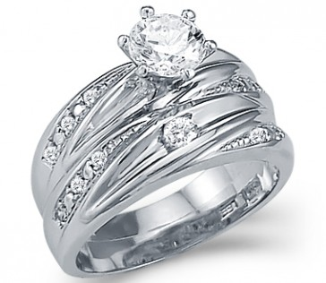 CZ Engagement Rings Bridal Wedding Set 14k White Gold (1.50 Carat)