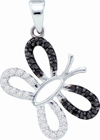 Black & White Diamond Butterfly Pendant 14k White Gold Charm (1/4 CTW)