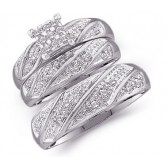 Diamond Engagement Ring & Wedding Bands 14k White Gold Bridal (.27 CT)