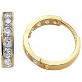CZ Hoop Earrings 14k Yellow Gold Round Classic Cubic Zirconia 1/2 inch
