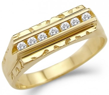 CZ Mens Wedding Band 14k Yellow Gold Ring Cubic Zirconia (1/2 Carat)