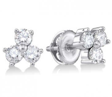 Three Stone Diamond Earring Studs 14k White Gold (3/4 Carat)