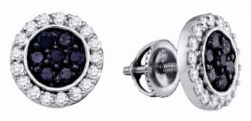 Black & White Diamond Earring Studs 14k White Gold Round (1.00 Carat)