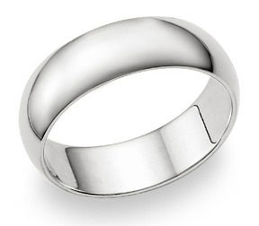 Ladies Wedding Band 14k White Gold Ring Solid Comfort Fit 7 MM