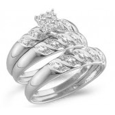 Diamond Engagement Rings & Wedding Bands 10k White Gold Set (0.09 CT)