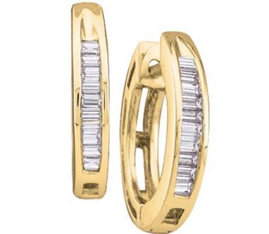 Diamond Earring Hoops 10k Yellow Gold Huggies Baguette (0.15 Carat)