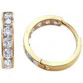 CZ Hoop Earrings 14k Yellow Gold Huggies Round Cubic Zirconia 3/4 inch