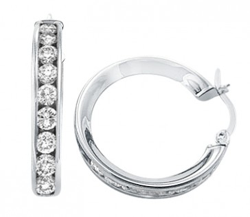 CZ Hoop Earrings 14k White Gold Huggie Round Cubic Zirconia 1.25 inch