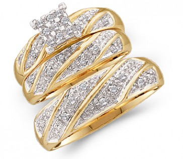 Diamond Engagement Rings & Wedding Bands Set 10k Yellow Gold (0.27 CT)