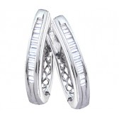 Diamond Hoop Earrings Baguette 10k White Gold (1/4 Carat)