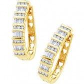 Diamond Hoop Earrings 10k Yellow Gold Bar Set (1.00 Carat)