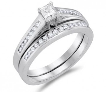 Princess Diamond Engagement Ring & Wedding Band White Gold (1/2 Carat)