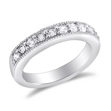 Wedding Ring Bridal Anniversary Band CZ Sterling Silver (0.30 Carat)