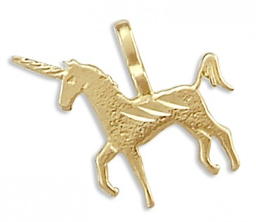 Unicorn Pendant 14k Yellow Gold Horse Charm Animal