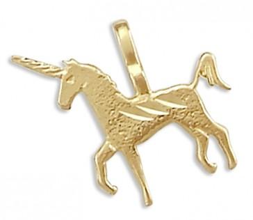 Unicorn Pendant 14k Yellow Gold Horse Charm Animal