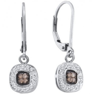 Brown Champagne Diamond Dangle Earrings 14k White Gold (1/4 Carat)