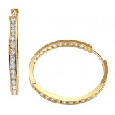 CZ Hoop Earrings 14k Yellow Gold Round Womens Cubic Zirconia