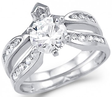CZ Engagement Rings Wedding Set 14k White Gold Bridal (2.00 Carat)