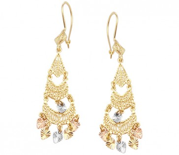 Dangle Earrings 14k White Rose Yellow Gold Chandelier