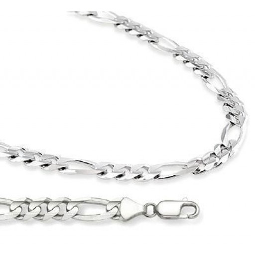 3b6e17dcc29a Figaro Necklace 14k White Gold Chain Solid Link Large Mens 7 mm - 18 ...
