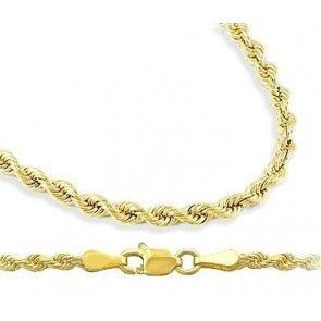 Mens Womens 10k Yellow Gold Chain Hollow Rope Necklace 2 mm - 16 6138926591
