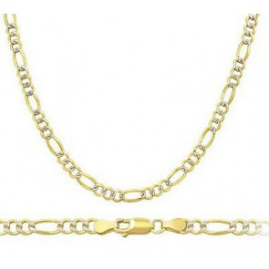 d3381a706 Solid Figaro Necklace 14k White Yellow Gold Chain Pave Link 3.2 mm - 18,20